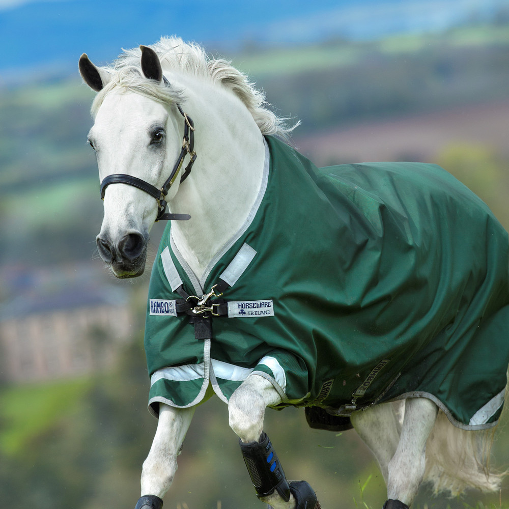 Horseware Rambo Rambo Original with Leg Arches - Turnout  Rug - Heavy 400g in Green/Silver