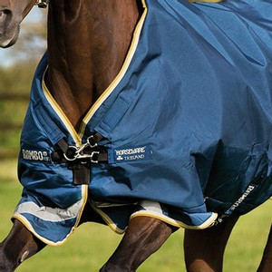 Horseware Rambo Rambo Original with Leg Arches Turnout Lite 100g in Navy/Lime Green/Mustard