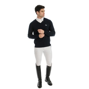 Horseware Signature Cotton Knit V-Neck Sweater in Navy