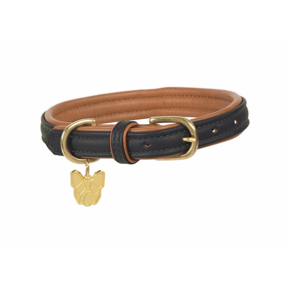 Digby & Fox Padded Leather Dog Collar - Black in Black