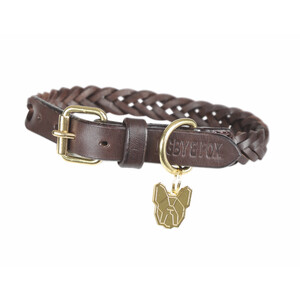 Digby & Fox Plaited Dog Collar - Brown in Brown
