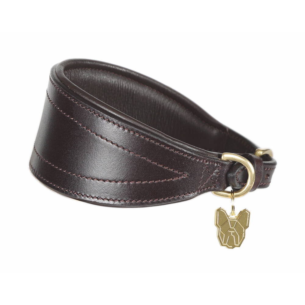 Digby & Fox Padded Greyhound Collar - Brown in Brown