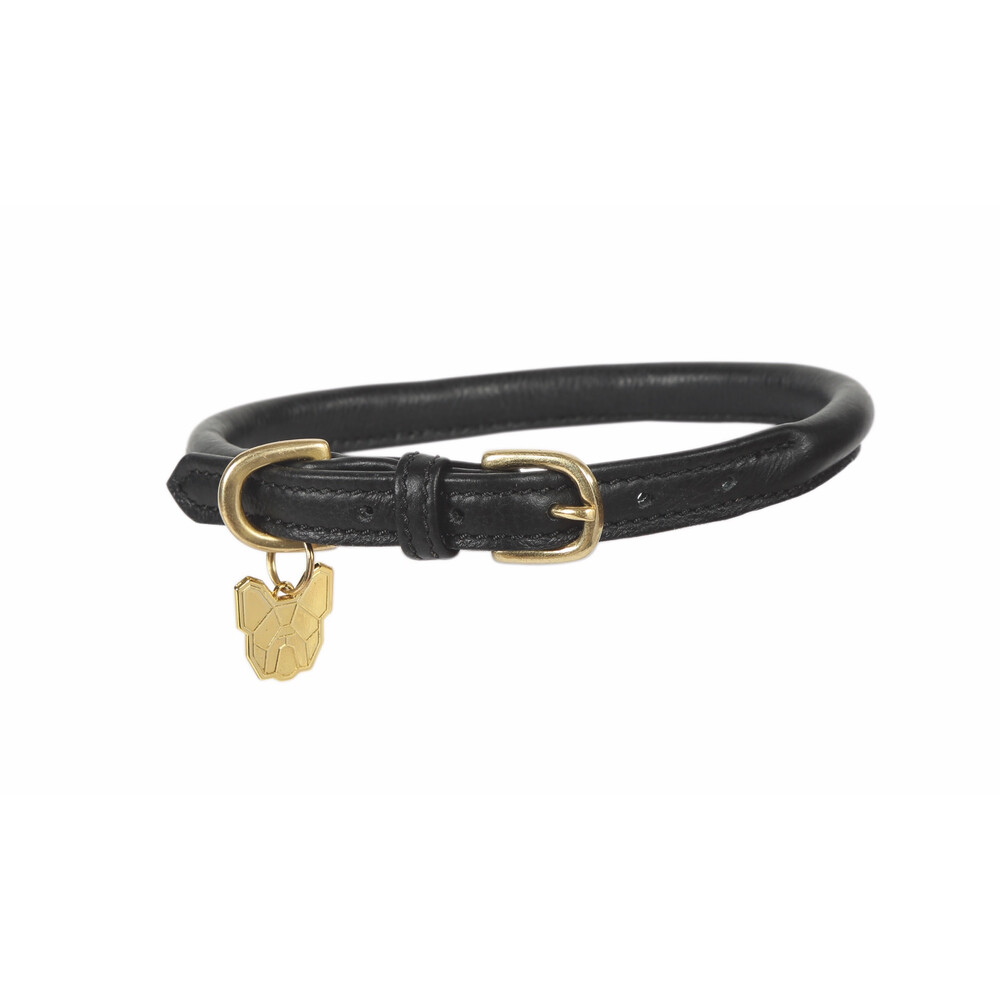Digby & Fox Rolled Leather Dog Collar - Black in Black