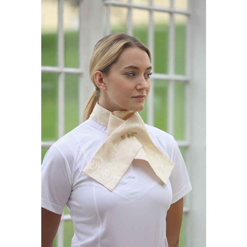 Shires Ready Tied Brocade Riding Stock - White in White