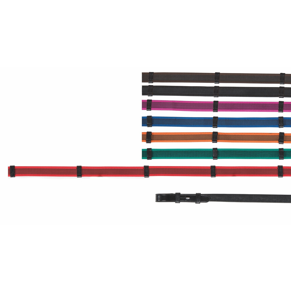 Aviemore Continental Rubber Grip Reins in Black/Pink