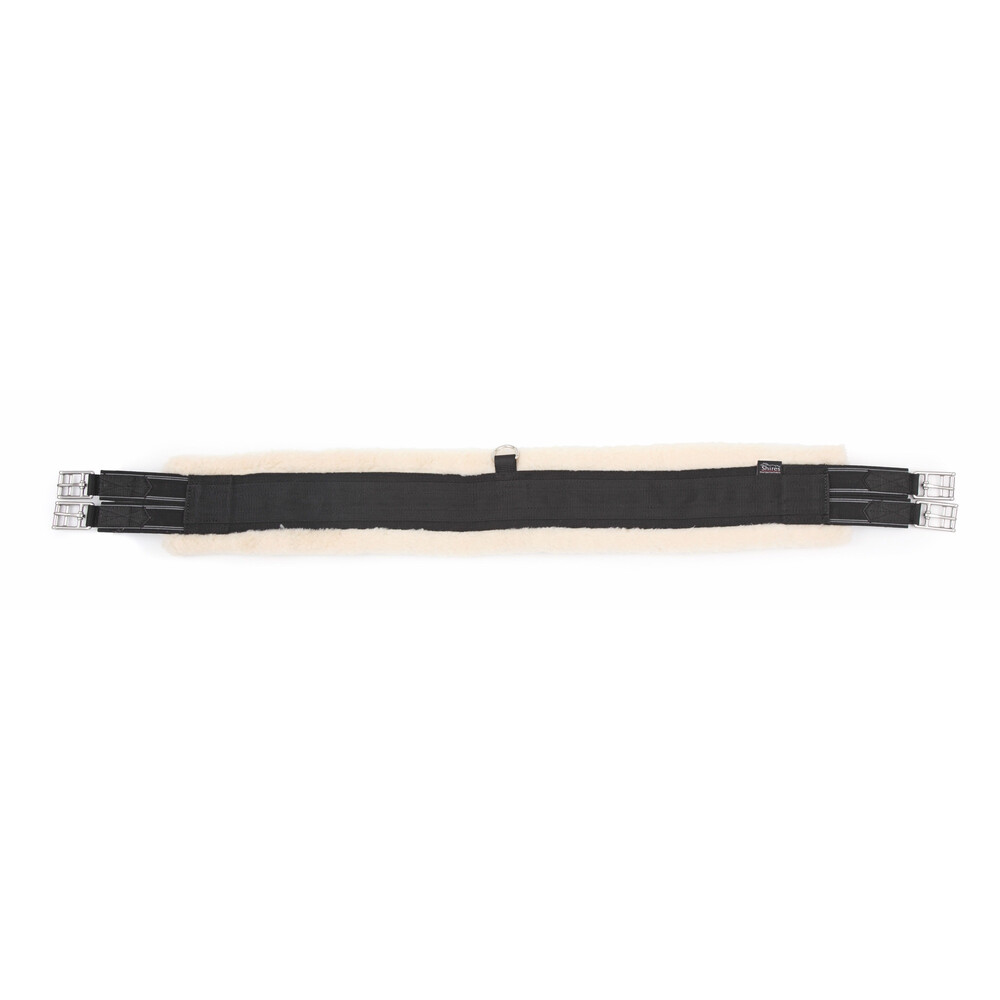 Shires Fleece Lined Girth - Elastic in Black