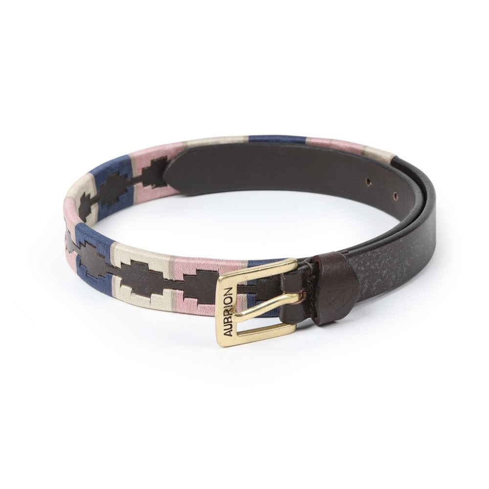 Aubrion Drover Skinny Polo Belt in Navy/Pink/Natural