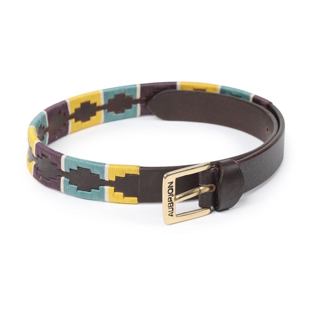 Aubrion Drover Skinny Polo Belt - Yellow/Dark Green/Purple in Yellow/Dark Green/Purple