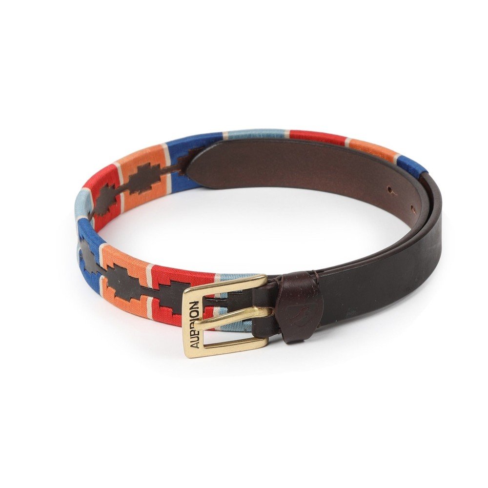 Aubrion Drover Skinny Polo Belt - Turquoise/Red/Orange/Blue in Turquoise/Red/Orange/Blue