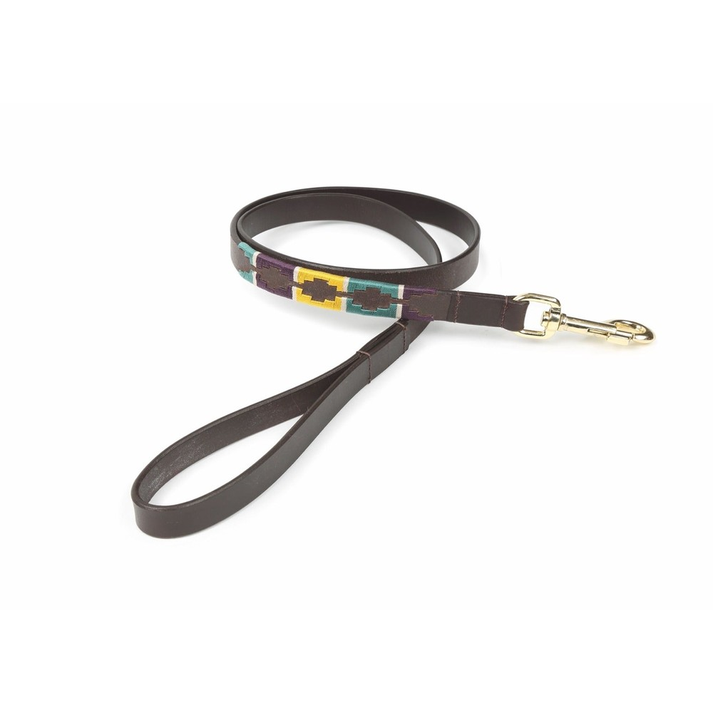 Digby & Fox Drover Polo Dog Lead - Yellow/Dark Green/Purple in Yellow/Dark Green/Purple