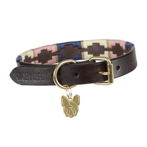Digby & Fox Drover Polo Dog Collar - Navy/Pink/Natural in Navy/Pink/Natural
