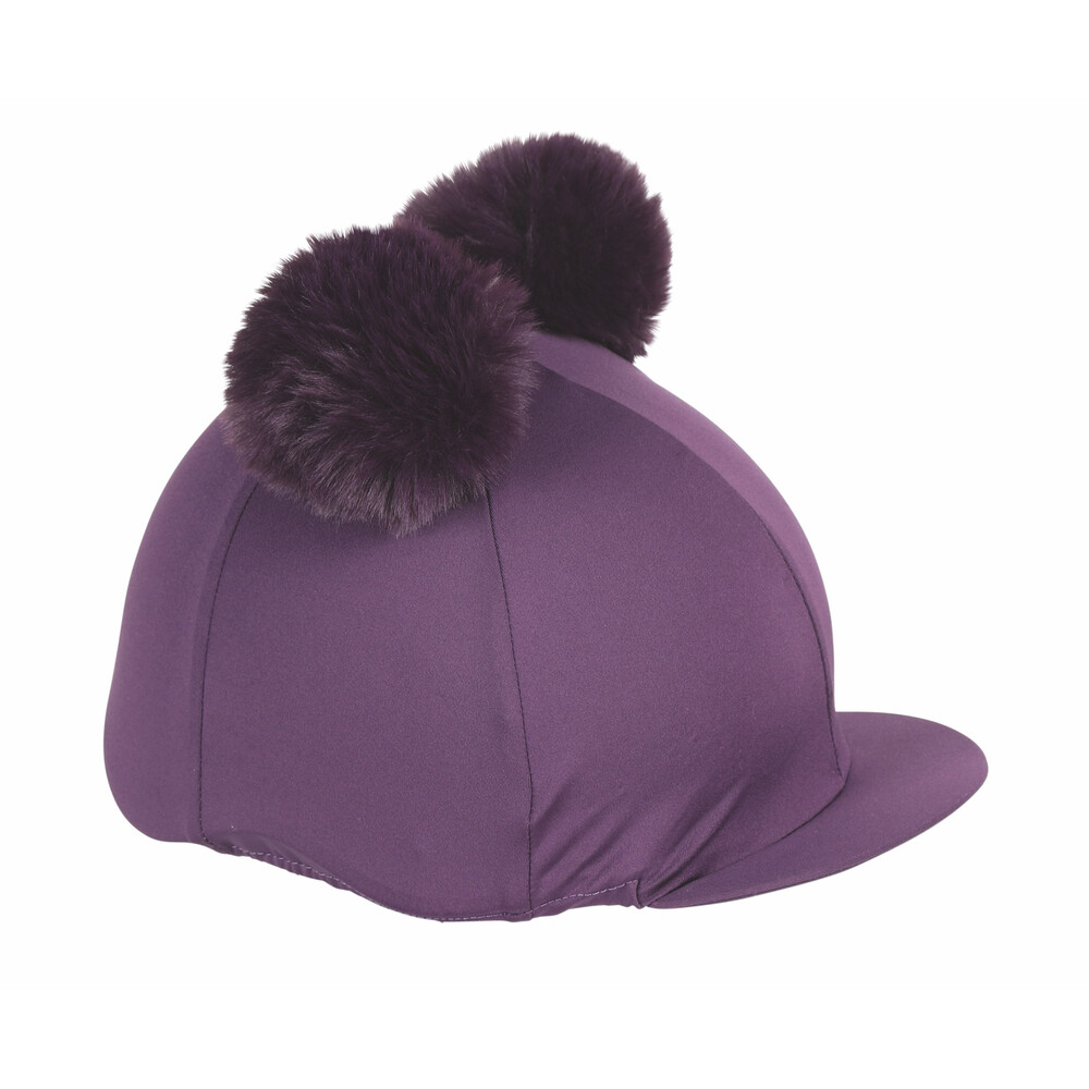 Shires Double Pom Pom Hat Cover in Plum