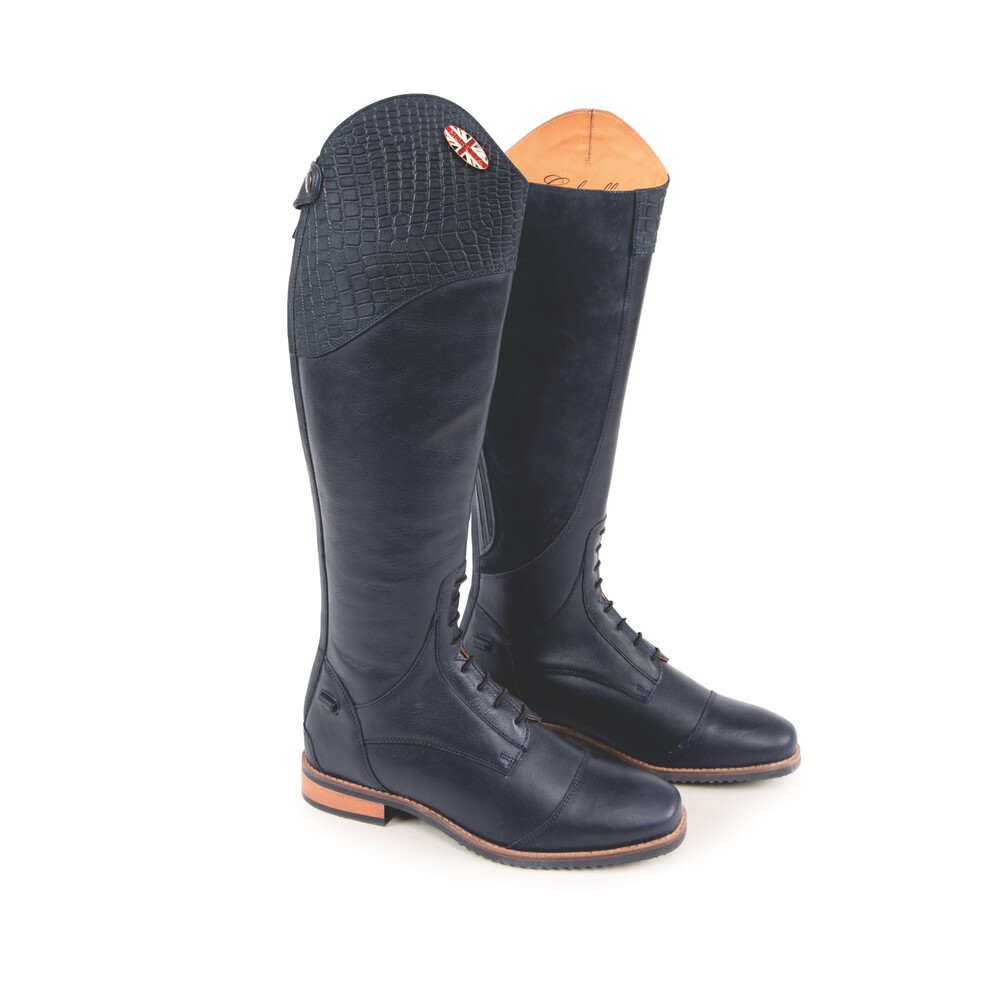 Moretta Gabriella Riding Boots - Extra Wide in Navy