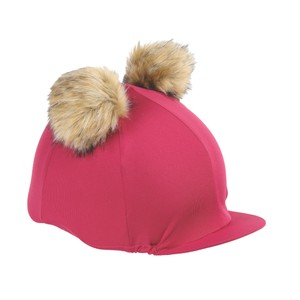 Shires Double Pom Pom Hat Cover in Raspberry