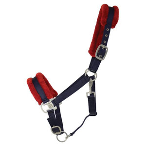 Hy Equestrian Hy Two Tone Faux Fur Head Collar in Navy/Red