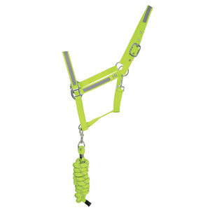 Hy Equestrian HyVIZ Reflector Head Collar and Lead Rope -Yellow in Yellow