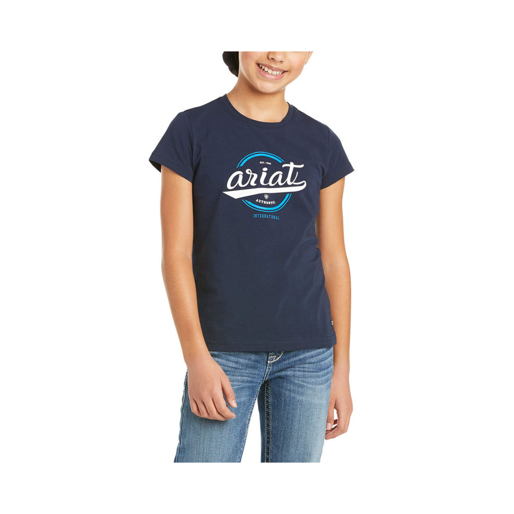Ariat Youth Authentic Logo T-Shirt Navy in Navy