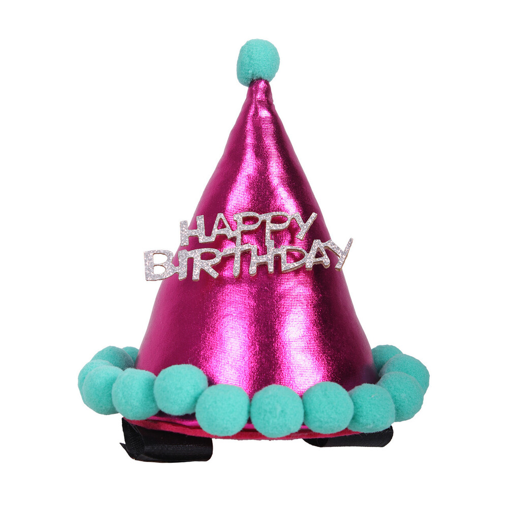 QHP Birthday Hat Horse in Fuchsia
