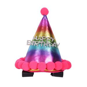 QHP Birthday Hat Horse in Rainbow