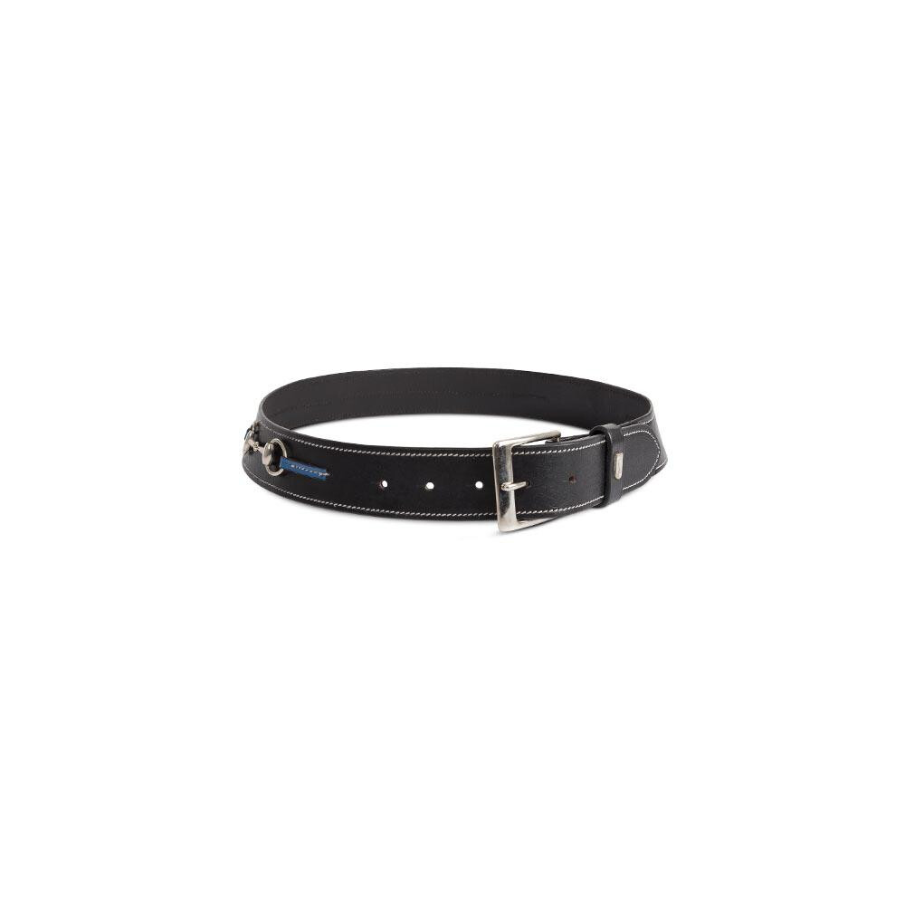 Tredstep Curved Snaffle Belt Black with Classic blue Trim in Black