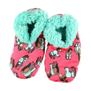 LazyOne Women Dont Do Morning Fuzzy Slippers - Pink in Red