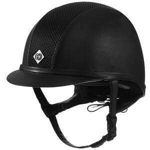 Charles Owen Leather Look AYR8 Plus Hat Black in Black