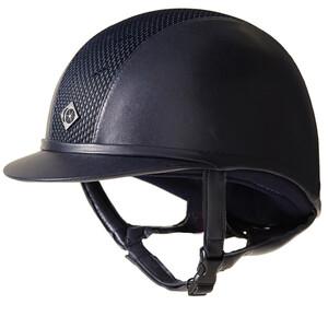 Charles Owen Leather Look AYR8 Plus Hat Navy in Navy