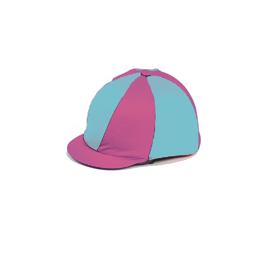 Capz Lycra Hat Cover Quartered in Cerise/Turquoise