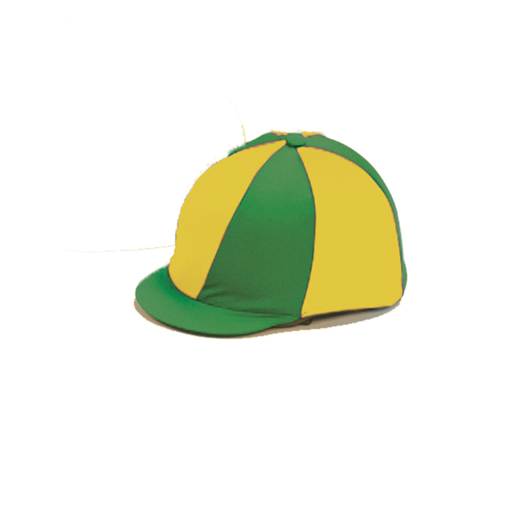 Capz Lycra Hat Cover Quartered in Green/Yellow