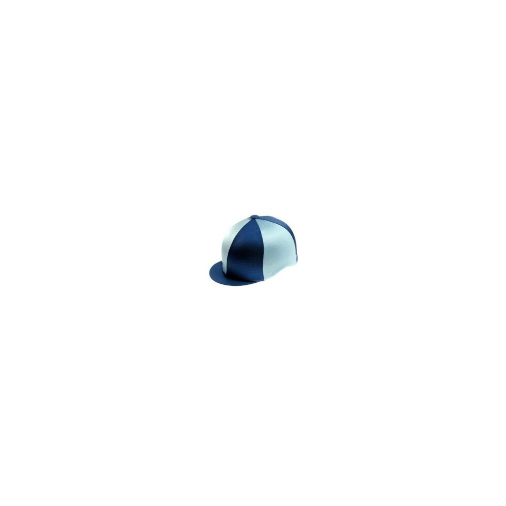 Capz Lycra Hat Cover Quartered in Navy/Baby Blue
