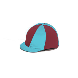 Capz Lycra Hat Cover Quartered in Purple/Turquoise