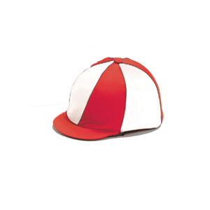 Capz Lycra Hat Cover Quartered in Red/White