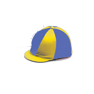 Capz Lycra Hat Cover Quartered in Royal Blue/Yellow