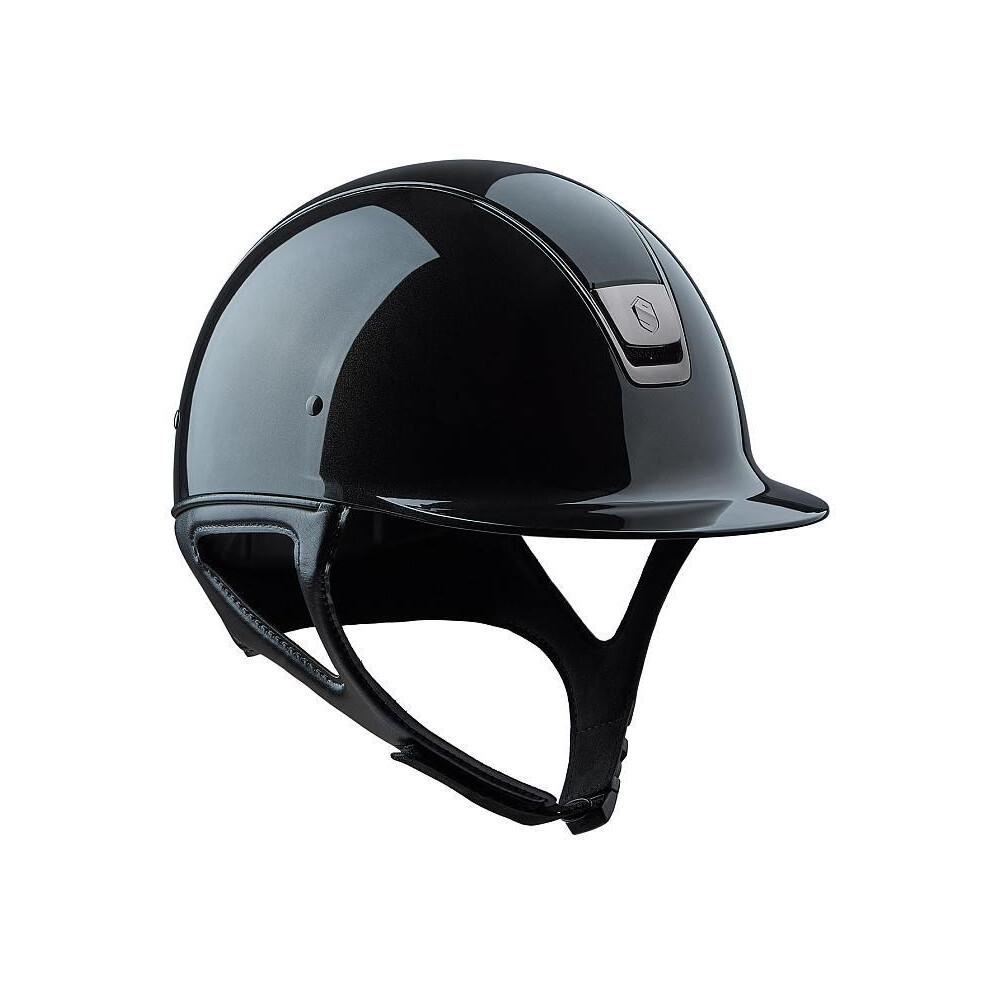 Samshield Shadow Glossy Metalic Black with Dressage Chin Strap in Metallic Black