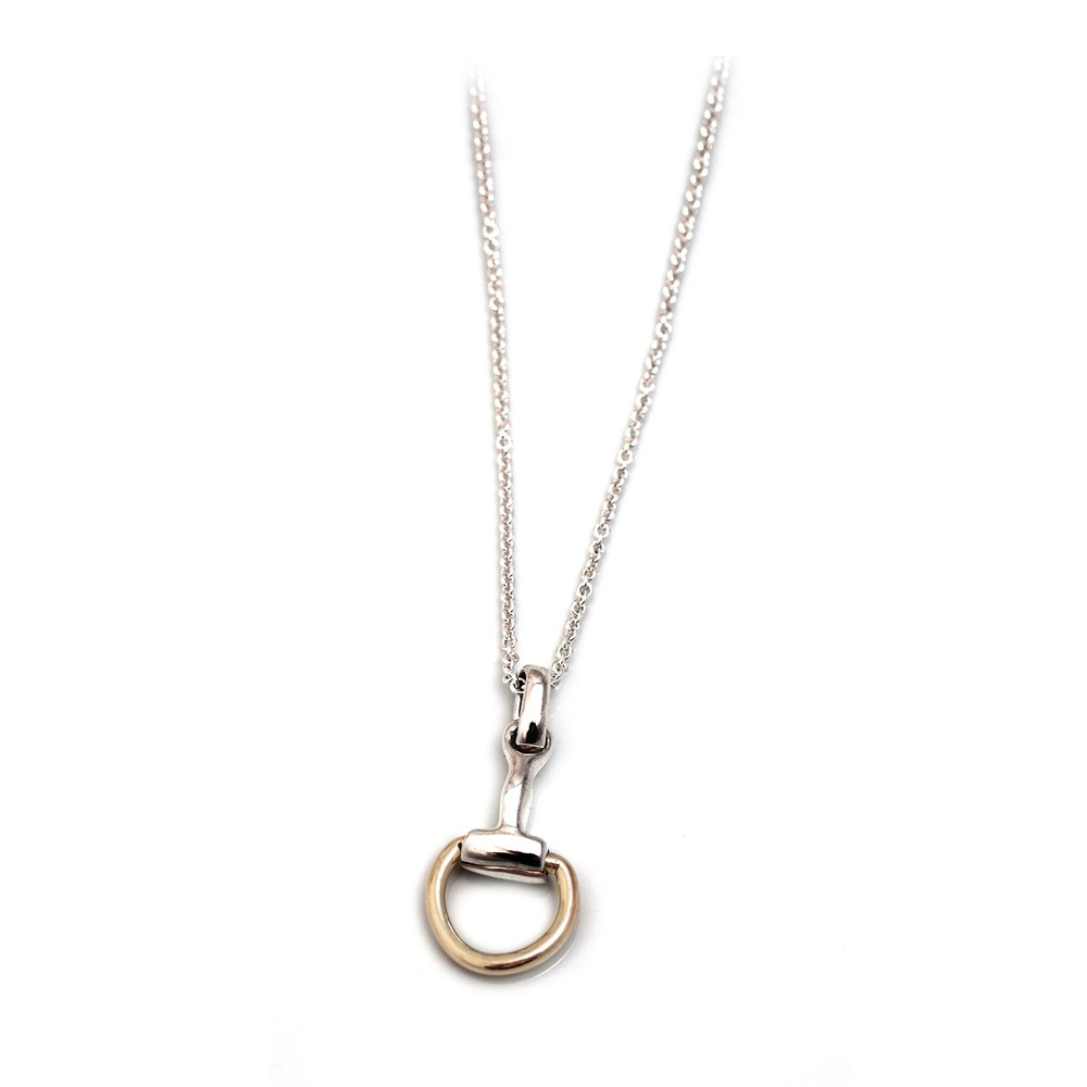 HiHo Silver Two Tone Snaffle Pendant On Fine Trace Chain