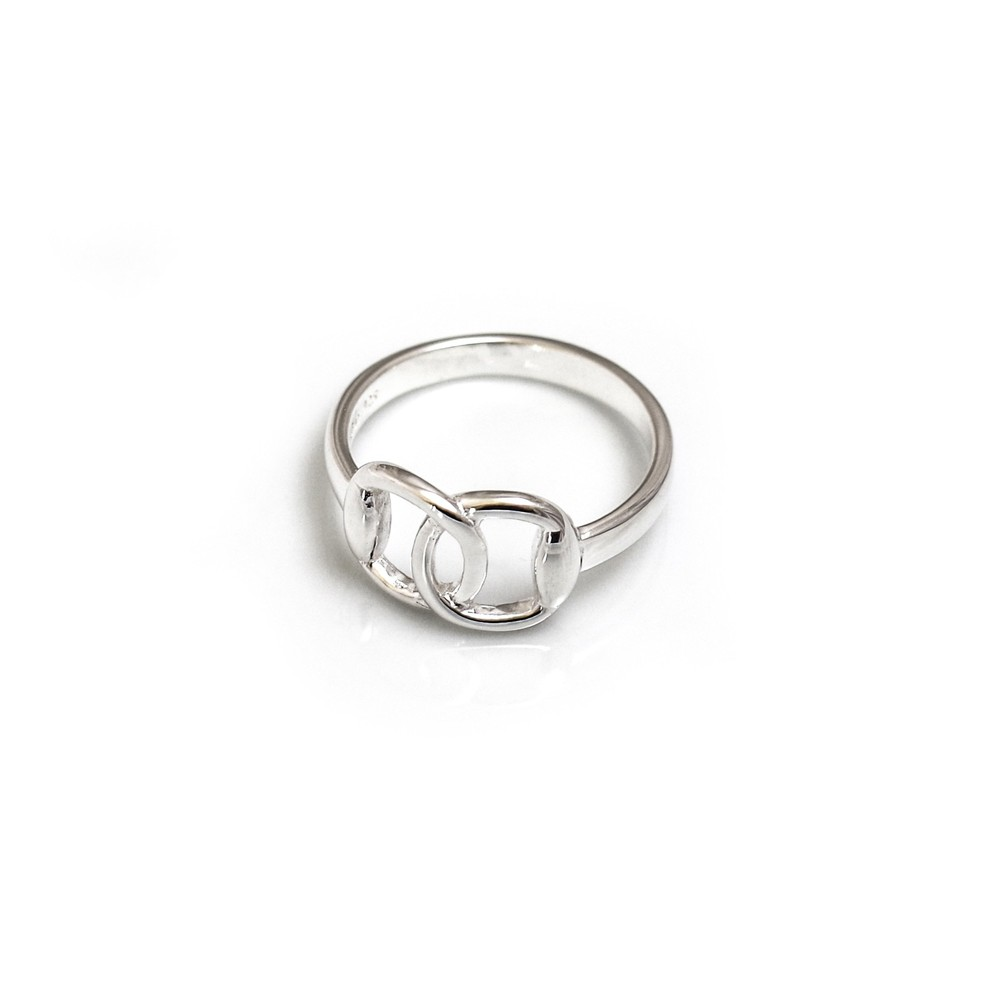 HiHo Silver Sterling silver detailed snaffle ring in Silver