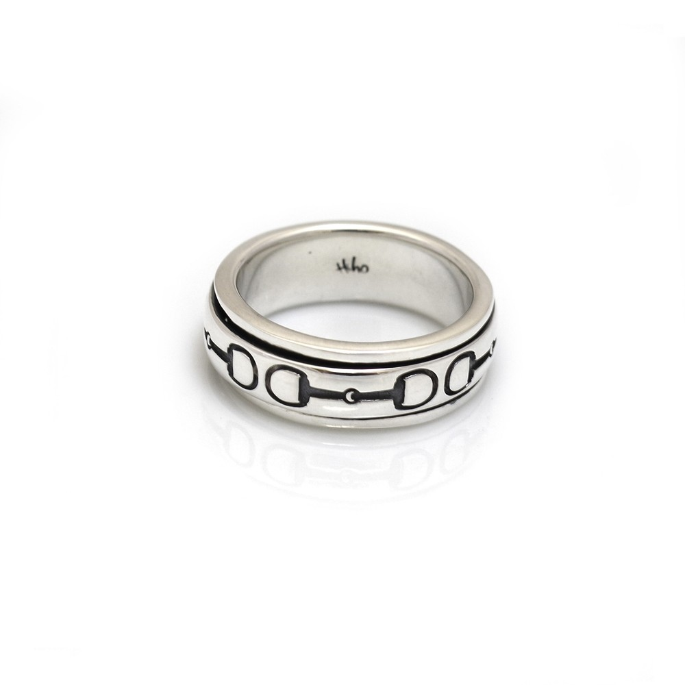 HiHo Silver Silver Snaffle Spinner Ring in Silver