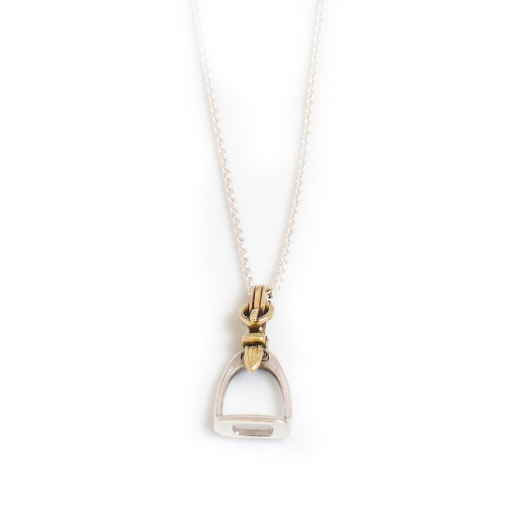 HiHo Silver Sterling Silver & Two Tone Stirrup Pendant