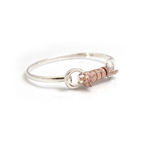 HiHo Silver Sterling Silver And 18ct Rose Gold Plate Foxy Roller Bangle in Silver/Rose Gold