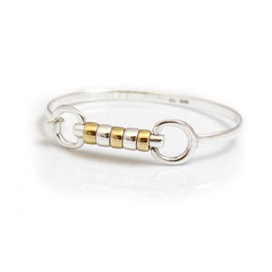HiHo Silver Exclusive Sterling Silver And 18ct Gold Plated Cherry Roller Snaffle Bangle in Silver/Gold