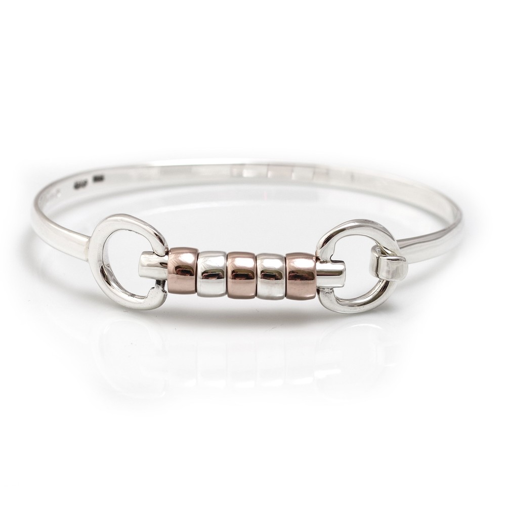 HiHo Silver Exclusive Sterling Silver And 18ct Rose Gold Plated Cherry Roller Snaffle Bangle in Silver/Rose Gold