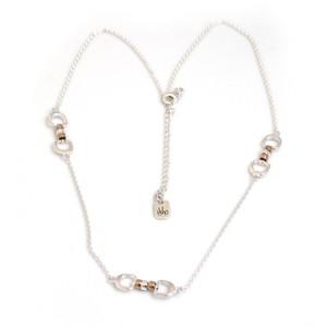 HiHo Silver Exclusive sterling silver and 18ct Rose Gold Plated triple cherry roller necklace