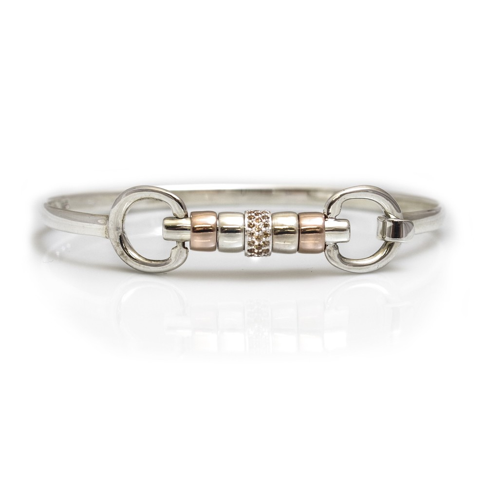 HiHo Silver sterling silver and 18ct rose gold plated cherry roller bangle with single champagne cz bead in Silver/Rose Gold/Champagne