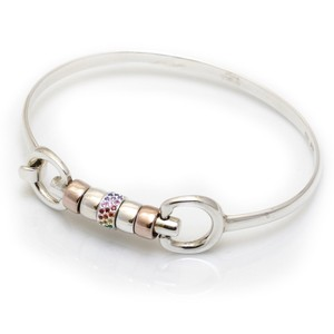 HiHo Silver sterling silver and 18ct rose gold plated cherry roller bangle with single rainbow cz bead in Silver/Rose Gold/Rainbow