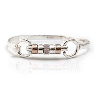 HiHo Silver sterling silver and 18ct rose gold plated cherry roller bangle with single pink cz bead in Silver/Rose Gold/Pink