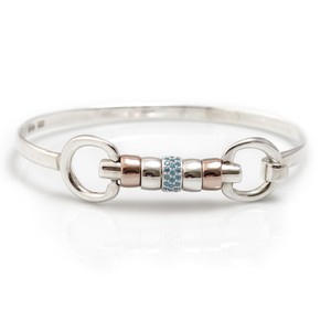 HiHo Silver sterling silver and 18ct rose gold plated cherry roller bangle with single turquoise cz bead in Silver/Rose Gold/Turquoise