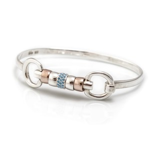 HiHo Silver sterling silver and 18ct rose gold plated cherry roller bangle with single turquoise cz bead
