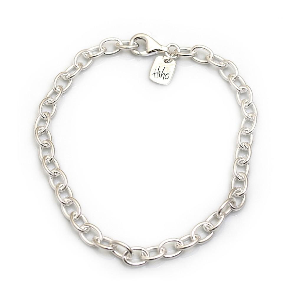 HiHo Silver Sterling Silver Oval Linked Fob Bracelet