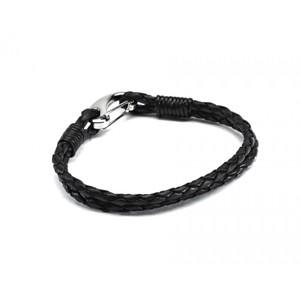 HiHo Silver plaited leather bracelet - Black in Black
