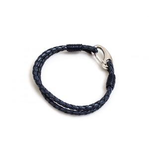 HiHo Silver plaited leather bracelet - Blue in Blue